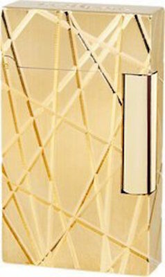 S.T. Dupont Ligne 2, Gold Fire Lines Lighter, ST016265, New In Box