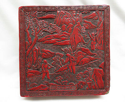 Large Antique 19th Century Chinese Cinnabar Lacquer Box ~ Men Working Landscape