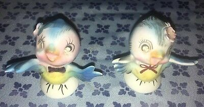 LEFTON Bluebirds Salt Pepper Shakers~Vintage Blue Bird S&P w/Rhinestone Eyes 239
