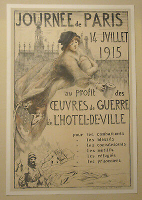 Original French WW1 WWI Paris bond poster art deco style 1915