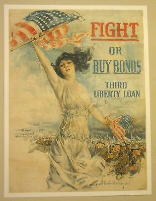 Original Liberty Loan bond poster linen First World War I WW1 WWI 1918 Christy