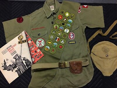 1960's Boy Scout Of America Uniform shirt, Eagle Scout patch, Sash, catalog. BSA