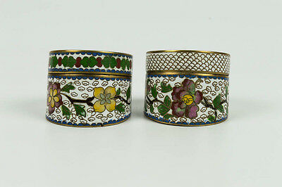2 Rare Antique Brass Cloisonne Enameled Oriental Chinese Opium Snuff Boxes Jars