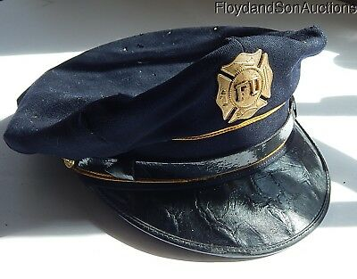 Original FIRE CHIEF CAPTAIN'S HAT with Badge FREE SHIPPING!!!