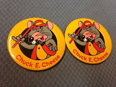 2 Vintage Chuck E Cheese Pizza Time Theater Pinback Button