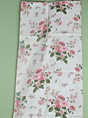 Vintage Heavy Weight Cotton Shabby Chic Curtains/ Pink Roses / 3 Pair