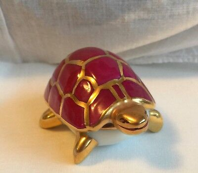 Antique Porcelain Limoges France Magenta Pink Gold Shell Turtle Trinket Box