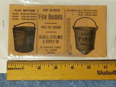Rare Antique Fire Bucket Advertising Blotter.  Fitts Mfg Co, Boston