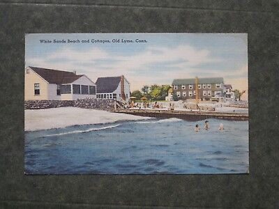 Postcard  East Lyme, CT  White Sands Beach and Cottages c-1930-1945 D85211