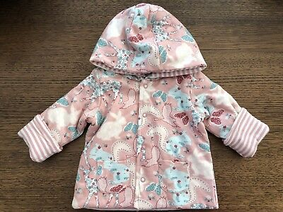 Sprout Girls Hooded Jacket Size 00 Pink with Animal and Flower Print
