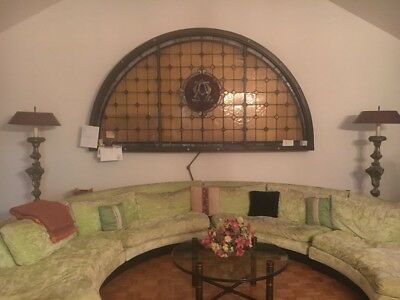 Antique Arched transom window, church stained glass