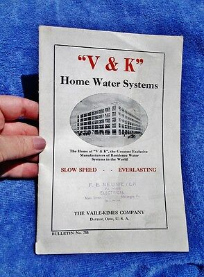 c.1920's VAILE-KIMES DAYTON OHIO Home Water Systems Bulletin 755 Well Pump Tanks