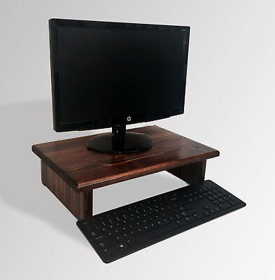 L@@K Monitor Stand Pine Red Mahogany Stain 18 x 11.5 x 4.75 TV Wood Riser NEW