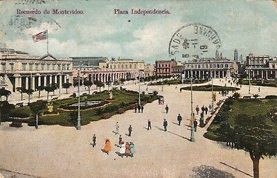 OLD POST CARD carte postale ancienne URUGUAY MONTEVIDEO plaza independencia 1919