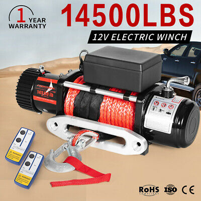 Wireless 12V Electric Winch 14500lbs 4WD ATV Synthetic Rope 12Volt vs 13000lbs