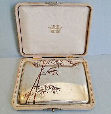 Antique Boxed Japanese 950 Silver ַ Mixed Metal Cigarette Case K. Uyeda 1900