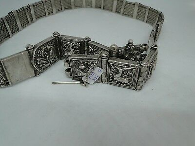 Exceptional Antique Tibetan Or Indian Solid Silver Belt Figural Decor 444 Grams