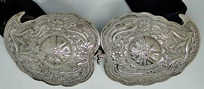 Fine Antique Ottoman Balkan Islamic Solid Silver Belt Buckle Woven Belt 1870