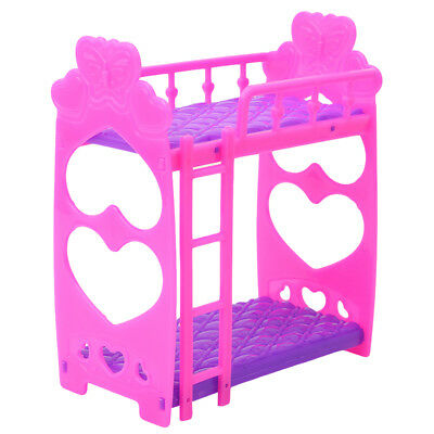 Mini Dollhouse Furniture Doll Plastic Bunk Bed Barbie House Toy Gift for Kids