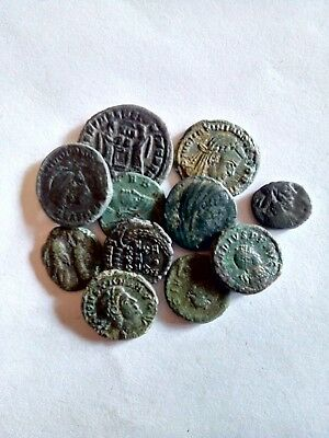 64.Roman Bronze Coins,Lot of 11 pieces,AE4-Johanes,Divo Maxim,Urps Roma