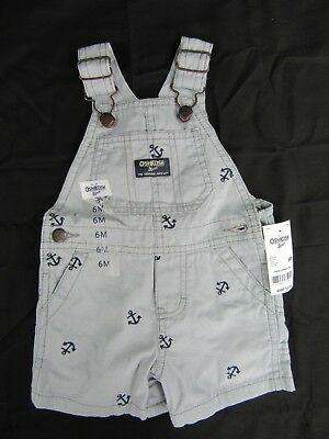 Osh-Kosh Overalls Shorts Gray with Embroidered Anchors 6M New with tags