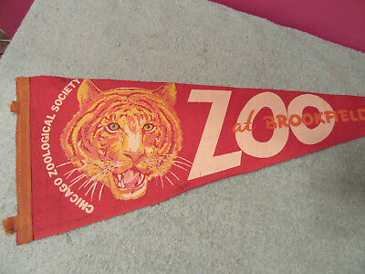 "Chicago Brookfield Zoo felt pennant Tiger Lion Zoological society 9 x 25"" sign"
