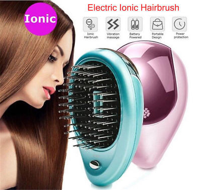 Portable Electric Ionic Hairbrush Takeout Mini Ion Hair Brush Comb Massage HE