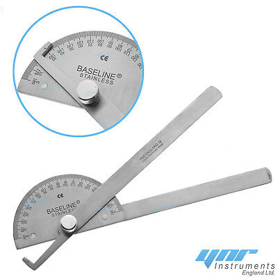 YNR® Goniometer Angle Ruler Joint Bend Measure Stainless Steel Medical Physio CE