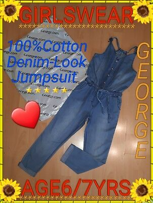 ❤George Strappy All-In-One Denim-Look 100% Cotton Jumpsuit❤Age 6/7 Yrs❤Superb!❤
