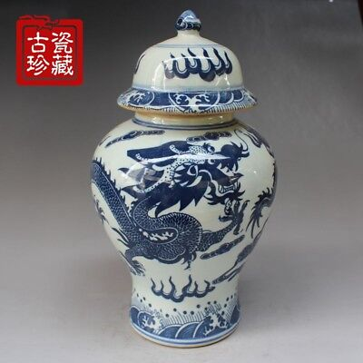China Dynasty Old Handwork Painting Dragon Blue And White porcelain Big Jar pot