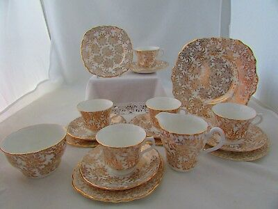 VALE CHINA 18 x PIECE TEA SERVICE IN GOLD/WHITE