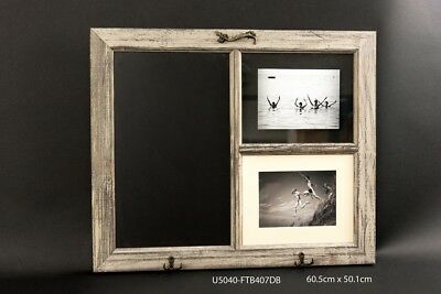 "Vintage Style Blackboard & Picture Photo Frame & Hooks for 4"" x 6"" 60cm x 50cm"