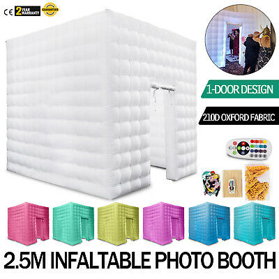 1 Door Inflatable LED Air Pump Light Photo Booth Tent Party Wedding 110V Cube US