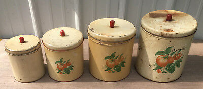 Maid of Honor Tin Metal Canister Set vintage kitchen tomato pepper 4pc