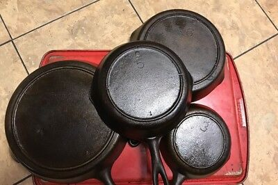 Lot of 4 Cast Iron Skillets Unmarked 3 Knotch Heat Ring Lodge 5 6  8 Skillet