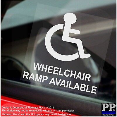 Wheelchair Ramp Available-Window Sticker-Sign,Car,Warning,Notice,Logo,Disabled