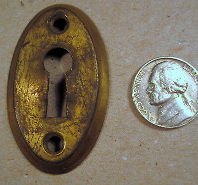 Antique Key Hole Escutcheon Plate Dresser China Cabinet Drawer Door Deep Brass