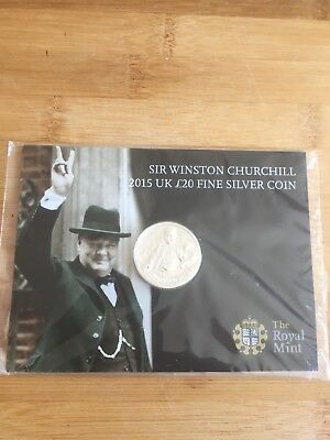Royal Mint 2015 Sir Winston Churchill £20 Coin In Fine Silver