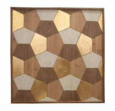 Wall Art HONEYCOMB GEO 89x89cm Carved Pinewood Framed Tribal Decor