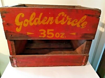Golden Circle 35 oz - Vintage Wooden Soft Drink Crate / Box with Handles