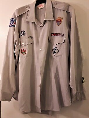 Boy Scouts Canada Shirt with Badges Size Men's 17