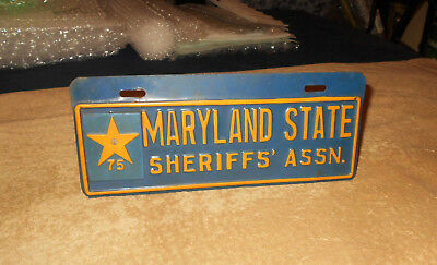 Vintage Maryland State Sheriff's Assn. License Plate Vehicle Tag    RARE  HTF