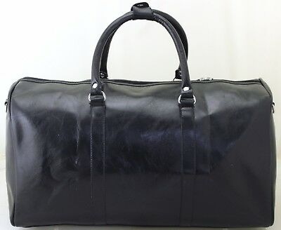 Large Italian Leather Style Holdall Luggage Weekend Duffel Travel Overnight Bag