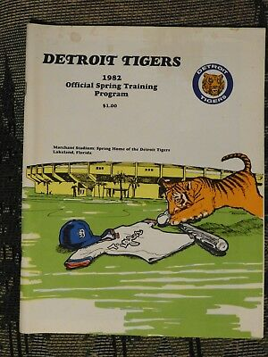 Vintage 1982 Detroit Tigers Official Spring Training Program, Very Nice!