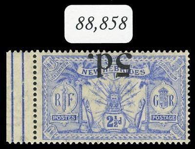 """New Hebrides 1924 """"Weapons & Idols"""" 5d on 2½d SURCHARGE INVERTED vfm. SG 42a."""