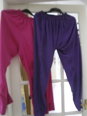 Two pairs of stage/chorus harem pants 8/12 one purple one deep pink