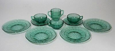 Depression Glass DORIC & PANSY Child's Tea Set Ultra Marine 10 Pieces 1930s