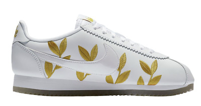 Nike Classic Cortez Goddess Of Victory Casual Shoes Womens White Metallic Gold