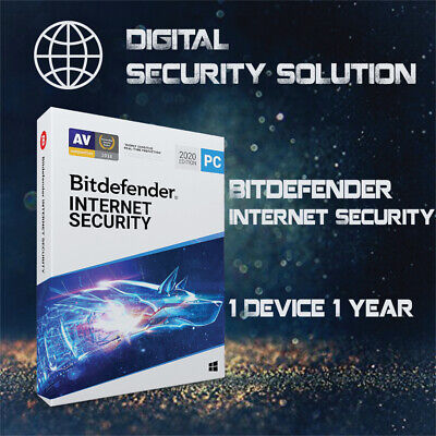 Bitdefender Internet Security 2020 1 User 1 Year + Invoice + Proof of Genuine