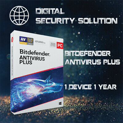 Bitdefender Antivirus Plus 2020 1 User 1 Year + Invoice + Proof of Genuine
